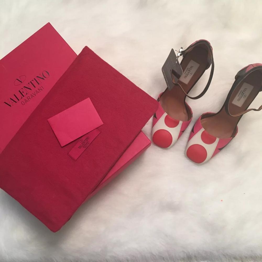 Valentino Pink Red Polka Dot Leather Block Heel