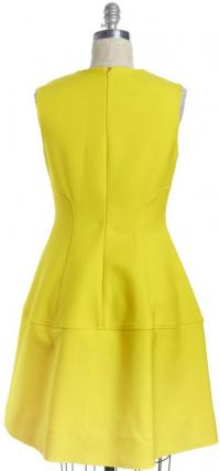 Sleeveless Yellow Fit & Flare Dress -LELA ROSE
