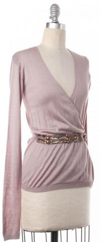 Embellished Wrap Sweater  Size XS- LANVIN Blush Angle2