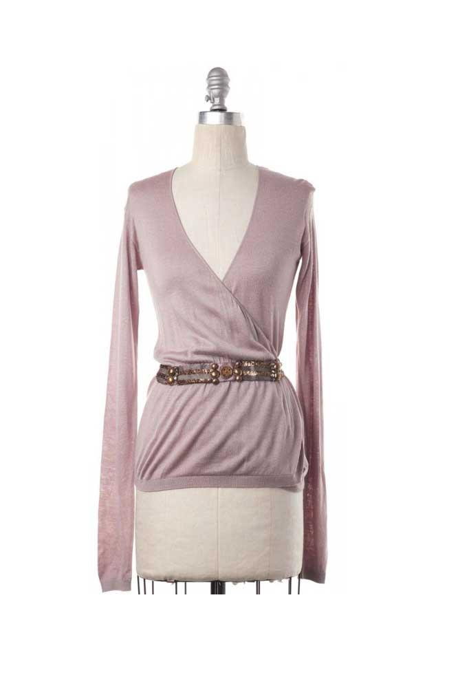 Embellished Wrap Sweater  Size XS- LANVIN Blush
