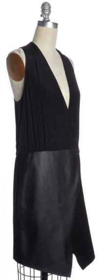 Sleeveless V-Neck Shift  Leather Black Dress -TIBI Angle2