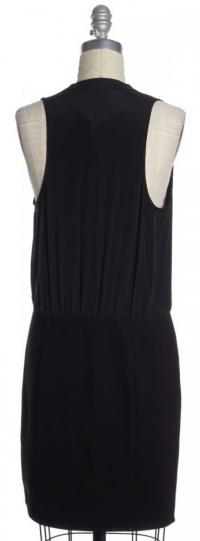 Sleeveless V-Neck Shift  Leather Black Dress -TIBI Angle3