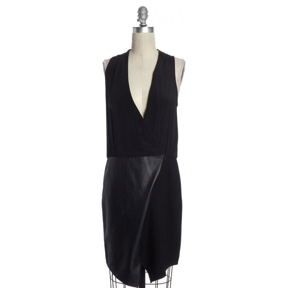 Sleeveless V-Neck Shift  Leather Black Dress -TIBI