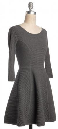 Fit & Flare Ribbed Knit Mini Dress Sz:M-MILLY Angle2