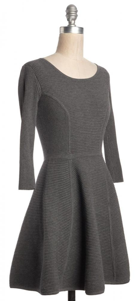 Fit & Flare Ribbed Knit Mini Dress Sz:M-MILLY