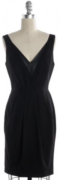 V Neck Pleated Sheath Dress-REBECCA MINKOFF Angle2