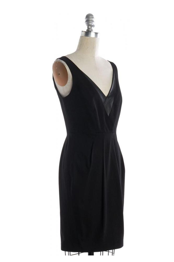 V Neck Pleated Sheath Dress-REBECCA MINKOFF