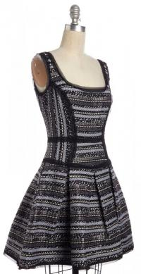 Scoop Neck Fit & Flare Tweed  Dress- MILLY Angle3