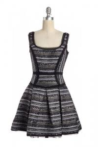 Scoop Neck Fit & Flare Tweed  Dress- MILLY Angle1