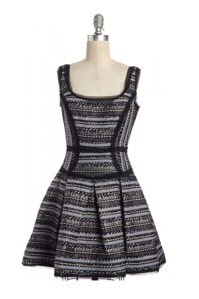 Scoop Neck Fit & Flare Tweed  Dress- MILLY
