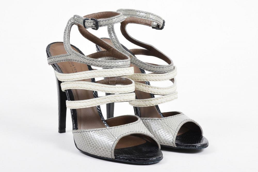 Strappy Heeled Snakeskin Sandals-Bottega Veneta