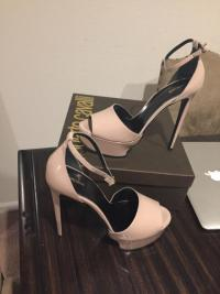Roberto Cavalli sandals nude heels as seen on Kim Angle2
