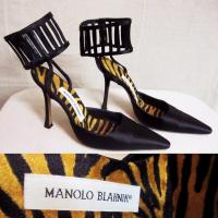 MANOLO BLAHNIK Caged Stiletto Satin Pointed Pumps Angle2