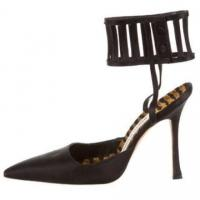 MANOLO BLAHNIK Caged Stiletto Satin Pointed Pumps Angle5
