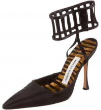 MANOLO BLAHNIK Caged Stiletto Satin Pointed Pumps