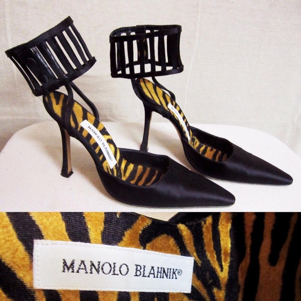 MANOLO BLAHNIK Caged Stiletto Satin Pointed Pumps