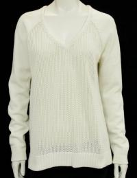 Tibi Cream Open Knit V-Neck Sweater Angle4