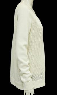 Tibi Cream Open Knit V-Neck Sweater Angle2