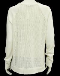 Tibi Cream Open Knit V-Neck Sweater Angle3