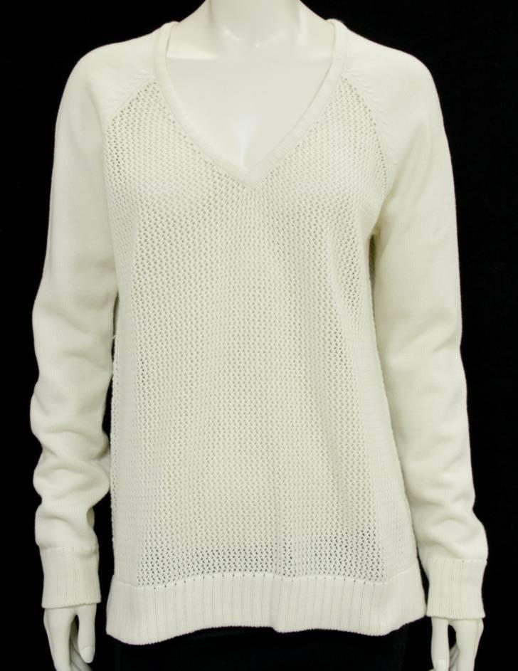 Tibi Cream Open Knit V-Neck Sweater