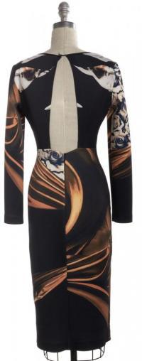 Cutout Back Bodycon Abstract Dress-CLOVER CANYON Angle2