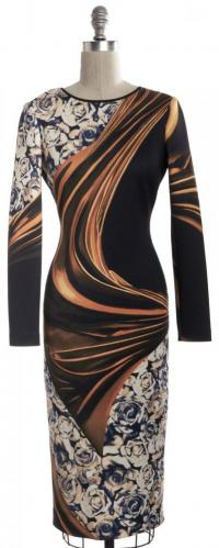 Cutout Back Bodycon Abstract Dress-CLOVER CANYON Angle3