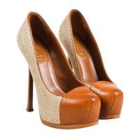 Woven Platform Tribtoo Pumps-Yves Saint Laurent