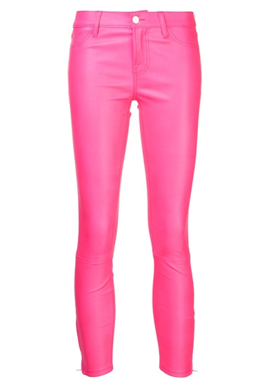 Pink Leather skinny jeans