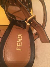 FENDI ANKLE WRAP STRIPED PLATFORM HEEL SANDALS Angle2