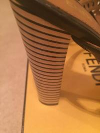 FENDI ANKLE WRAP STRIPED PLATFORM HEEL SANDALS Angle5