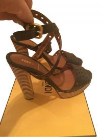 FENDI ANKLE WRAP STRIPED PLATFORM HEEL SANDALS Angle1
