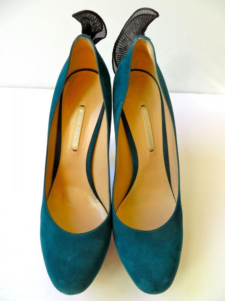 NICHOLAS KIRKWOOD PLATFORM PUMPS WITH RUFFLE HEAL