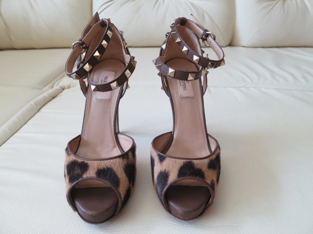Valentino Leather Platform Sandal Heels