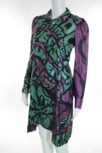 YSL Multi-Color Silk Long Sleeve V Neck Dress Size