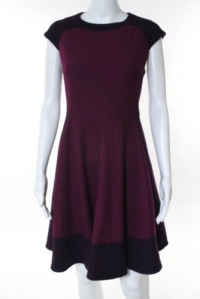 Ted Baker Plum Purple Pink Wool Cap Sleeve Dress