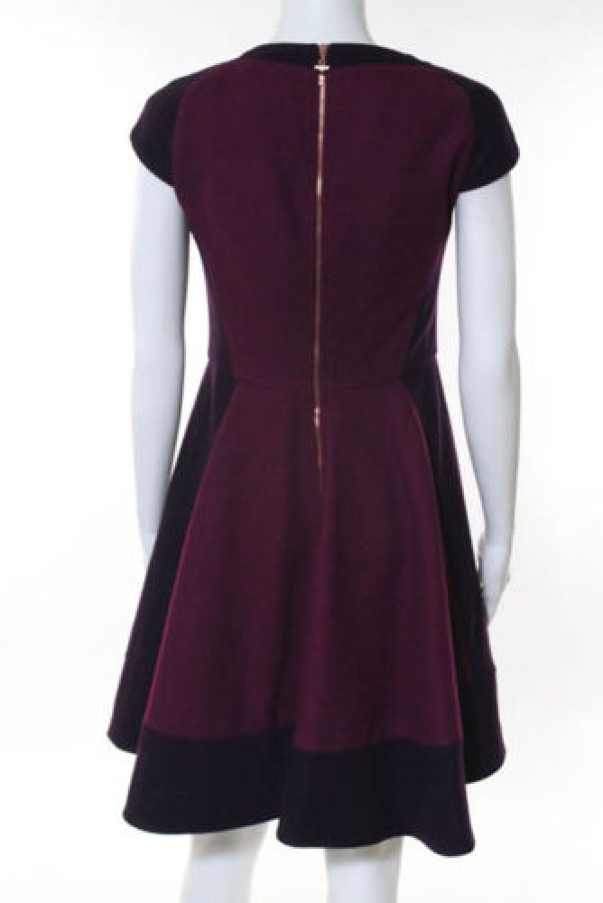 Ted Baker Plum Purple Pink Wool Cap Sleeve Dress