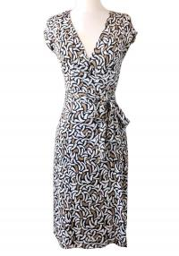 DVF Kye Silk Jersey Wrap Half Moon Print dress