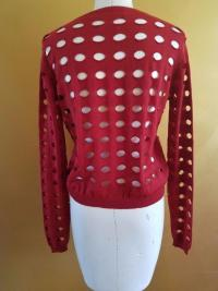 NEW MARNI SUMMER RED CUT OUT SHEER THIN SWEATER CA Angle6