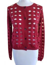 NEW MARNI SUMMER RED CUT OUT SHEER THIN SWEATER CA