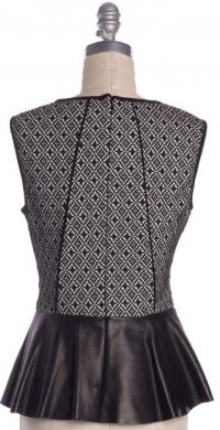 PARKER NWT Black Leather Trim Sleeveless Peplum Angle3