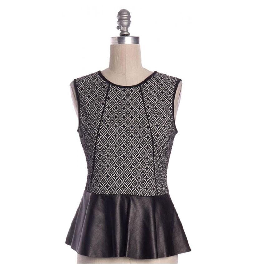 PARKER NWT Black Leather Trim Sleeveless Peplum