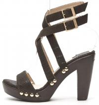 JIMMY CHOO Brown Python Embossed Lthr Heel Sandals
