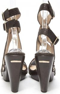 JIMMY CHOO Brown Python Embossed Lthr Heel Sandals Angle3