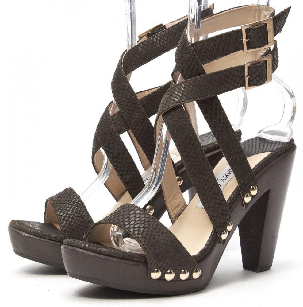 JIMMY CHOO Brown Python Embossed Lthr Heel Sandals