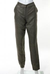 DVF Gold Long Georginne Zip Skinny Pants Size 4 Angle1