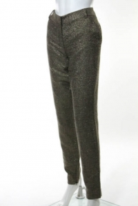DVF Gold Long Georginne Zip Skinny Pants Size 4 Angle2