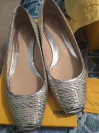 Fendi Silver Metallic Woven Peep Toe Flats Angle3