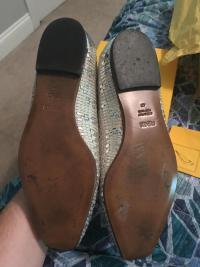 Fendi Silver Metallic Woven Peep Toe Flats Angle4