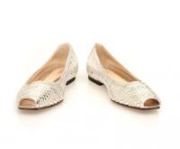 Fendi Silver Metallic Woven Peep Toe Flats Angle1