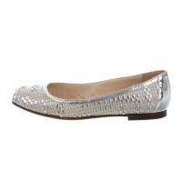 Fendi Silver Metallic Woven Peep Toe Flats Angle5